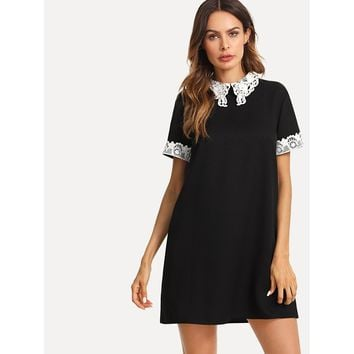 Black Lace Collar And Cuff Tunic Dress