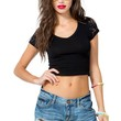 V Neck Lace Crop Tee