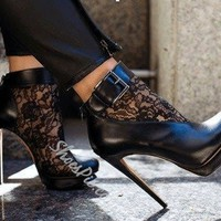 Sexy Black Suede Lace Cut-Outs High Heel Boots- Shoespie.com