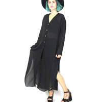 90s Sheer Black Shirt Dress Goth Long Sleeve Minimal Blouse Maxi Shirtdress Witchy Oversize Tunic Button Up Cardigan (M/L)
