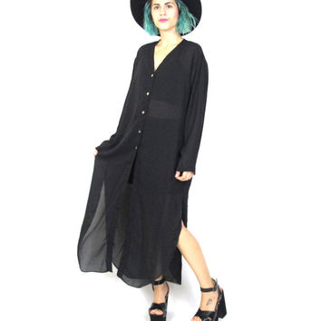 90s Sheer Black Shirt Dress Goth Long From Honey Moon Muse