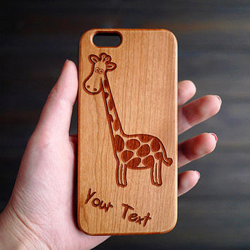The Giraffe Wood iPhone 6 6s Case , Personalized Wood Case for iPhone 6 6s , Wood Phone Case , Custom Wood iPhone 6s Case , Valentine's Gift
