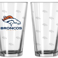 Denver Broncos Satin Etch Pint Glass Set of 2