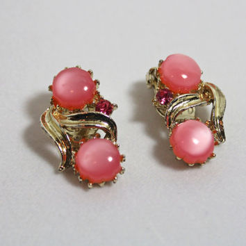 Vintage Pink Cabochon Earrings clip on style ladies costume jewelry