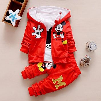 Autumn Cartoon Full Sleeved Hooded Hoodies + T-shirts + Pants 3PCS Infant Clothing Kids Jogging Suit