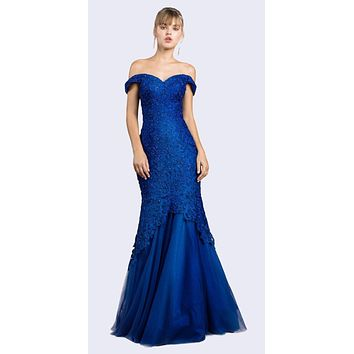 Off-Shoulder Mermaid Style Long Prom Dress Royal Blue