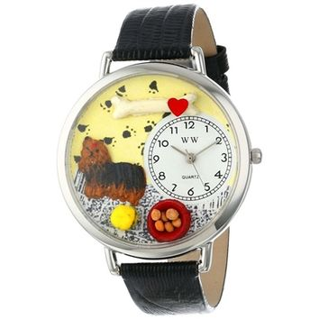 SheilaShrubs.com: Unisex Yorkie Black Skin Leather Watch U-0130077 by Whimsical Watches: Watches