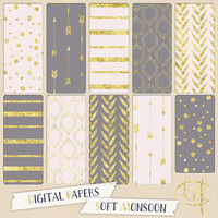 Gray pink and gold Digital papers gold glitter with arrows, stripes, dots confetti or digital scrapbooking cards, invites, wall art posters