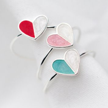 Ice cream love ring fashion sweet drop glaze love open forefinger ring F0506-1