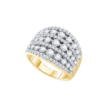 14k Yellow Gold Womens Round Diamond Wide Cocktail Band Ring 3.00 Cttw