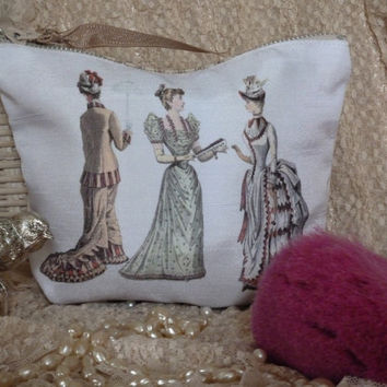 FREE SHIPPING Cosmetic's Bag Zipper Pouch for Bits and Bobs etc Victorian Women ..Handmade ..My Own Unique Design..Lined