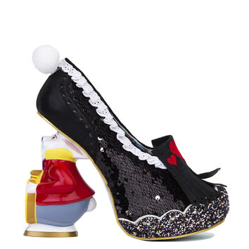 Irregular Choice x Alice in Wonderland White Rabbit Heels - Black