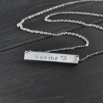 Personalized name necklace,personalized engraved bar name necklace pendant,Custom name Jewelry