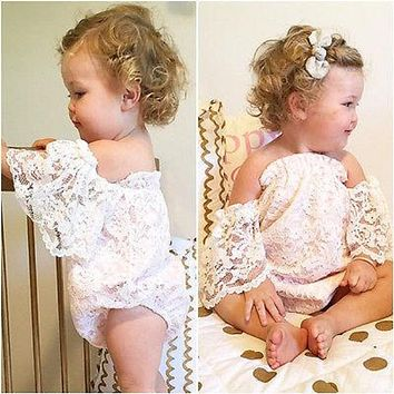Romantic Lace Floral Off the Shoulder Baby Romper