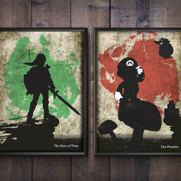 Nintendo Poster Set. Zelda and Mario Minimalist Prints. Geek Art. 30x42cm, 21x30cm.