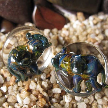 "Pyrex Glass Elephant Plugs from 00 G (9.2 mm) to 5/8"" (15.87 mm) - One Pair (2 pieces) Made by our Glass Artisans in Nan, Thailand"