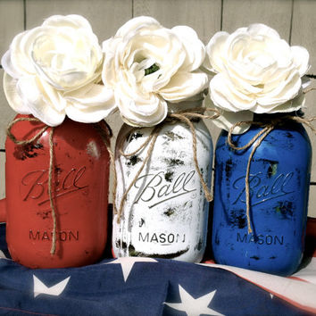 4th of July Decor / Red White and Blue Mason Jars / Patriotic Decoration / USA Decor