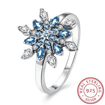 925 Sterling Silver Ring Gorgeous snowflake diamond ring woman