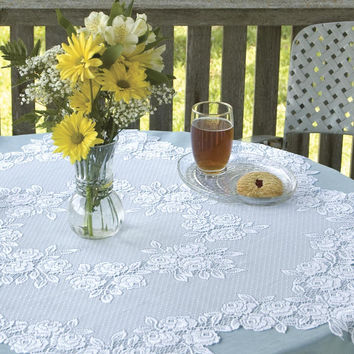 "42"" Round Tea Rose Table Topper"