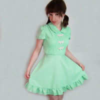 60s empire dress - The Dolly Dearie - pastel green with pink bows