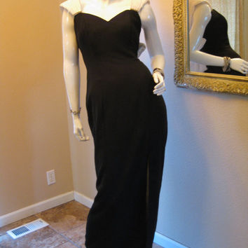 Mood Vamp. Vintage 80s Dress. Black Crepe 40s Bombshell Gown. 50s Mad Men Glamour.  Evening Gown. White Fortuny Pleat. Rhinestone Bow XXS XS