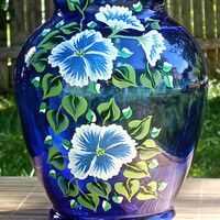 Hand Painted Blue Vase With Blue and White Flowers