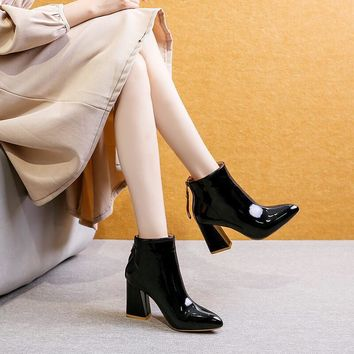 High Chunky Heel Patent Leather Ankle Boots