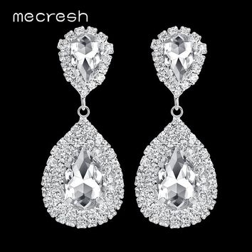 Mecresh Clear Crystal Long Drop Earrings 6 Colors Teardrop Bridal Party Wedding Jewelry for Women EH003