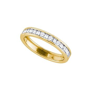 14kt Yellow Gold Womens Round & Baguette Diamond Band Ring 1/2 Cttw