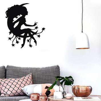 Wall Stickers Vinyl Decal Sexy Girl Silhouette Moon Fairy Cool Decor (ig1036)