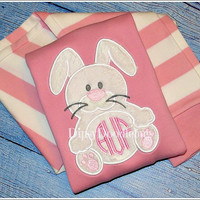 Monogrammed Easter Bunny Girls Pink Striped Long Sleeve Embroidered Pajamas- Easter Pajamas- Spring Pajamas