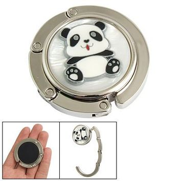 Round Panda Detail Rhinestone Inlay Folding Purse Wallet Hanger