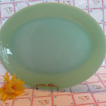 "Fire King Jane Ray Jadeite 9"" x 12"" Platter 1950s"
