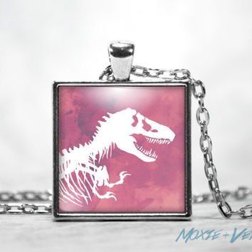 T-Rex Pendant Necklace, Dinosaur Necklace, Square Glass Tile Pendant