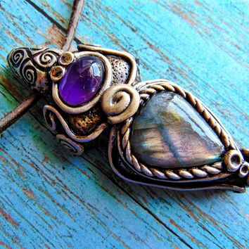 Purple Pink Labradorite with Amethyst Necklace Crystal Healing Pendant