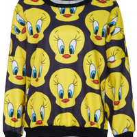 ROMWE | ROMWE Tweety Bird Print Long-sleeved Black Sweatshirt, The Latest Street Fashion