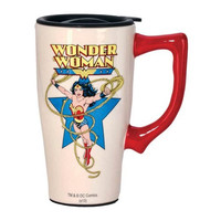 WONDER WOMAN WHITE TRAVEL MUG WITH HANDL