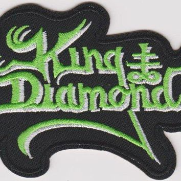 King Diamond Iron-On Patch Green Letters Logo