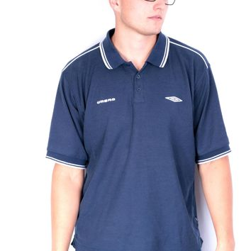 Umbro Mens XL Vintage Polo Shirt Navy Blue Summer