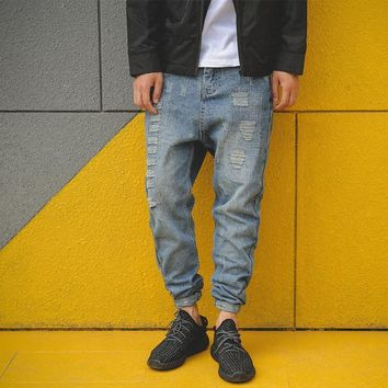 Men's Fashion Autumn Ripped Holes Weathered Jeans [7929369603]
