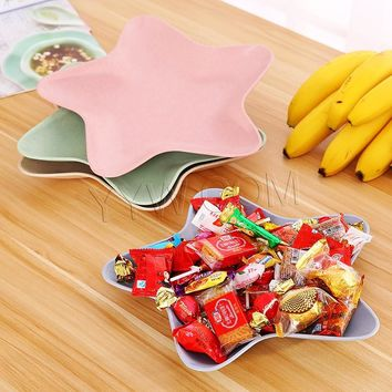 1 PCS Cute Star Fruit Dinner Dishes Plate Feeding Dish Heat Resistant Fruit Snack Salad Food Bowl Wheat Straw Dinnerware Plate