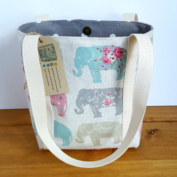Small Shoulder Bag, Handmade Fabric Handbag, Elephant Lovers Gift, Small Book Tote, Pastel Elephant Fabric Lined with Grey or Pink Spots
