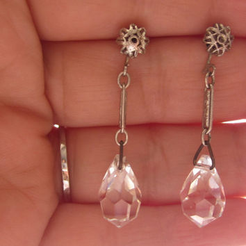 Vintage Tear Drop Faceted Crystal Earrings Sterling Silver Bridal Wedding Jewelry