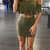 Charming Strapless Short Sleeves Falbala Design Army Green Polyester Two-piece Skirt Set