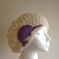 Women's Hat - Crochet Hat - Slouchy Beanie Crochet Hat  with Narwhal Patch Applique - Autumn Accessories