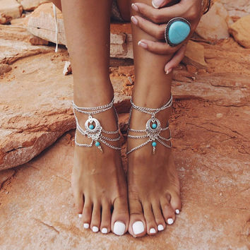 Boho Ethnic Turquoise Beads Barefoot S al Anklet Chic Multilayer Tassel Foot Chain Anklet Bracelet Body Jewelry For Women SM6
