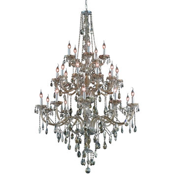 "Verona 43"" Diam Chandelier, Golden Teak Crystal, Royal Cut"