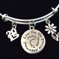 Live the Life you've Dreamed 2015 Graduation Silver Adjustable Bangle Charm Bracelet with Inspirational Quote