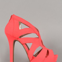 Women's Qupid Nubuck Neon Cut Out Open Toe Platform Heel