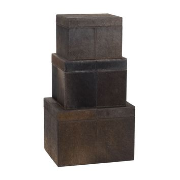 Nested Chestnut Faux Pony Boxes - Set of 3 Brown